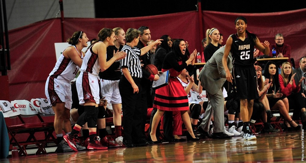 Coach Amy Williams and the Coyote bench